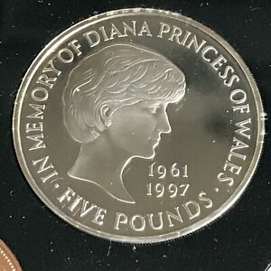 1999 PROOF FIVE 5 POUND LADY DIANA MEMORIAL SUPERB MINT CONDITION