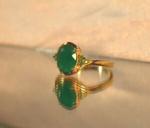 2.67 ct. NATURAL GENUINE EMERALD .925 STERLING  SILVER COCKTAIL DINNER GYPSY YG.