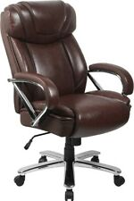 Big Amp Tall 500 Lbs Capacity Brown Leather Executive Office Chair Extra Wide Seat