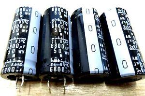 4x NICHICON 6800uf 50v radial electrolytic capacitor CE 85'C
