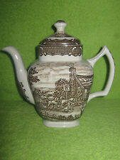 "WOOD & SONS SEPIA TRANSFER WARE TALL LIDDED TEA / COFFEE POT ""THE POST HOUSE"""