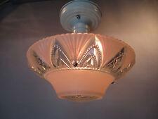 Vintage Art Deco Semi Flush Mount Ceiling Light Fixture Pink Sunflower Shade