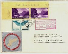 1938 Switzerland Cover to Berlin with 3 Stamps & Silver Seal