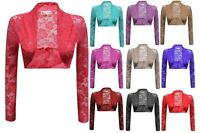 New Ladies Women Celebrity Inspired Long Sleeve Lace Shrug Top Crop Top Bolero