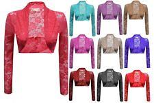 New Ladies Women Celebrity Inspired Long Sleeve Lace Shrug Top Crop Top Bolero