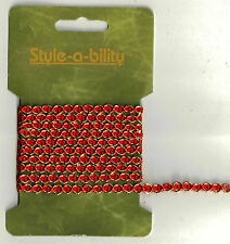 1 yard RED/GOLD Metallic Trim  Sewing Fabric Craft Supplies Embellishment