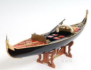"Venetian Gondola Wooden Work Boat Model 23"" Handcrafted Fully Assembled New"