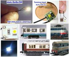 PIASTRA LED SMD BIANCO mm.6x6 12V 24V AC DC e DCC per LOCOMOTORI VAGONI EDIFICI