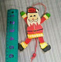 "Vintage Wood Wooden Pull String Jumping Jack Santa Claus Christmas Ornament 6"""