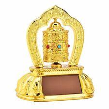 ABS Tibetan Tibet Buddhist Solar Energy Spinning Prayer Wheel Golden Car Decor
