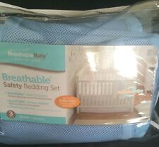 BreathableBaby Safety Crib Bedding Set, Blue Mist, 3 Piece Breathable Baby
