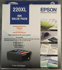 Epson 220XL Ink Value Pack - High Capacity 2.5x more prints - 5 x Ink Cartridges