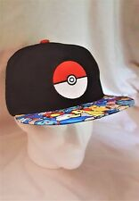 Pokemon Go! Pokeball w/ Pokemon Characters Collage Trim Black Snap-back Hat