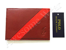 New Ralph Lauren Polo Brown w/ Stripe Pony Logo Card Case Wallet