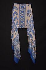 Royal Blue & Cream Paisley & flower Print Boho Style Contemporary Scarf (S200)