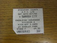 30/10/1993 Ticket: Stockport County v Swansea City  (corner trimmed). Thanks for
