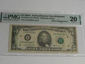 ERROR Note: 1988-A $5 FRN E/C Block PMG VF20 Offset Printing ERROR.  #36