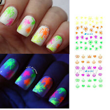 11Pcs Nail Art Water Decals Transfer Stickers Fluorescence Eyes Pattern Manicure