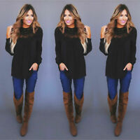 Top Long Womens Ladies Mesh Sleeve Pullover Casual Plus Summer Size Blouse Lace