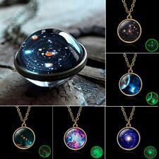Glow in the Dark Galaxy System Double Sided Glass Dome Planet Necklace Pendant