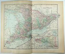 Original 1896 Map of Ontario Canada by A. J. Johnson