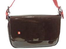 Auth BALLY Logos Leather Hand Bag Red Dark Brown 12580eRQ