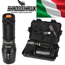 8000lm Genuine Shadowhawk X800 Tactical Flashlight LED Zoom militare torcia G700