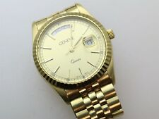 Gents Geneve Classic Wristwatch With 14K Case & Band, 75.9 Grams