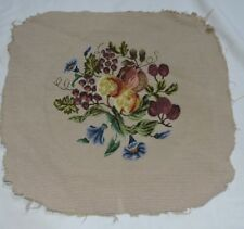 Antique Needlepoint Floral Morning Glory and Berries