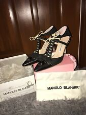 "EUC ""MANOLO BLAHNIK"" Black Pointed Toe Pumps W Self Tie Ankle Strap - Sz 38.5"