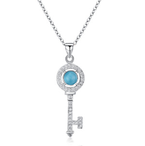 925 Sterling Silver Blue Simulated Opal Key Pendant Necklace Jewelry Gift B57