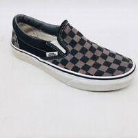 Vans Unisex Checkerboard Slip On Sneaker Shoes Black Beige Low Top M 6 W 7.5