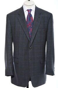 46L Long Lauren Ralph Lauren Blue Gray Houndstooth Check Wool Sport Coat Blazer