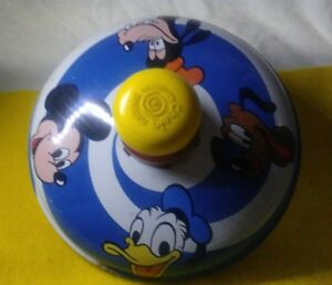 Vintage-spin-top-1973-J-CHEIN-Tin-Disney-Spinning-Top-Goofy-Donald-Pluto-MICKEY