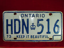 "VINTAGE 1973 Ontario Auto License Plate ""HDN 516"" Keep It Beautiful Collectible!"