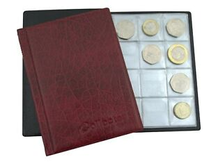 COLLECTOR RED COIN ALBUM for 96 coins perfect for 50p £2 £1 €1 €2 BOOK /RedPL