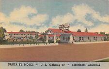 Bakersfield California~Santa Fe Motel~Route 99~Art Deco Googie Sign~Linen 1940s