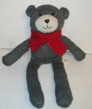 "Dan Dee Gray Sock Monkey Style Teddy Bear Plush Stuffed Sweater Knit 17"" Scarf"