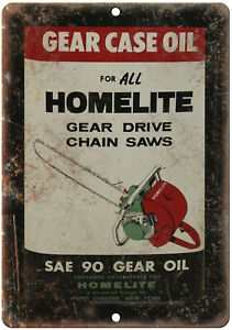 """Homelite Chain Saw Oil Vintage Can Art 10"""" x 7"""" Reproduction Metal Sign U187"""