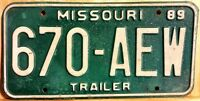 "CLASSIC 1989 MISSOURI ""TRAILER"" LICENSE PLATE 670 Targa Americana USA"