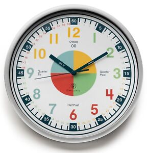 Kid's Teaching Clock. Learn to Tell Time. Educational Wall Clock for Children