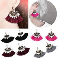 Women Fashion Crystal Rhinestone Tassel Drop Dangle Ear Stud Earring Jewelry HS