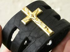 Cross gold tone bracelet black Buffalo bison leather for 6.5 inch wrist size.