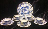 Antique Child's FLOW  BLUE FLUTED PLAIN  Meissen Miniature Tea Cups & Saucers