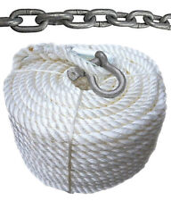 """New 3/8""""x150' Nylon Boat Anchor Rope/Line w/ 15' Chain & Shackle"""