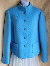 CASUAL CORNER Aqua Blue Textured Dressy Jacket Sz 14 Mandarin Lined Springy Chic