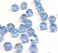 160 Crystal AB 4mm Doppelkegel Tschechische Kristall Glas Perlen DIY X44#4