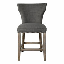 Retro Charcoal Gray Bar Counter Stool | Back Cushion Nailhead Wood Mid Century