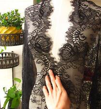 """25.5"""" de ancho de tela de encaje de Chantilly nupcial Negro Pestañas pieza de tela de encaje 3m/"""