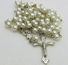 White Glass Pearl Catholic Rosary Beads